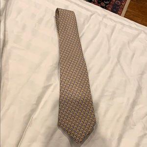 Hermès Paris Men's Tie Golden Blue Silk